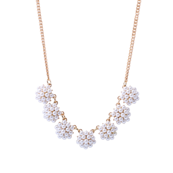 Faux Pearl Flower Ball Necklace