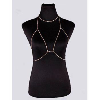 Geometric Beach Body Jewelry Bra Chain with Necklace
