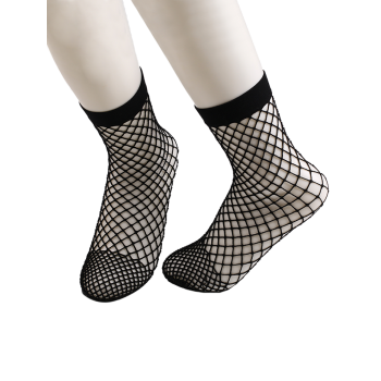 Fishnet Ankle Socks - BLACK