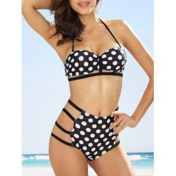 Halter High Waisted Cutout Polka Dot Bikini