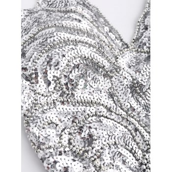 Sequins Cross Back Teddies - SILVER GRAY ONE SIZE