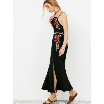 Floral Embroidered Camis and Maxi Slit Skirt - BLACK L