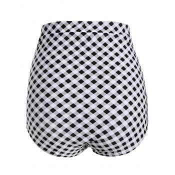 Plaid Vintage Cheeky High Waisted Bikini Shorts - CHECKED L