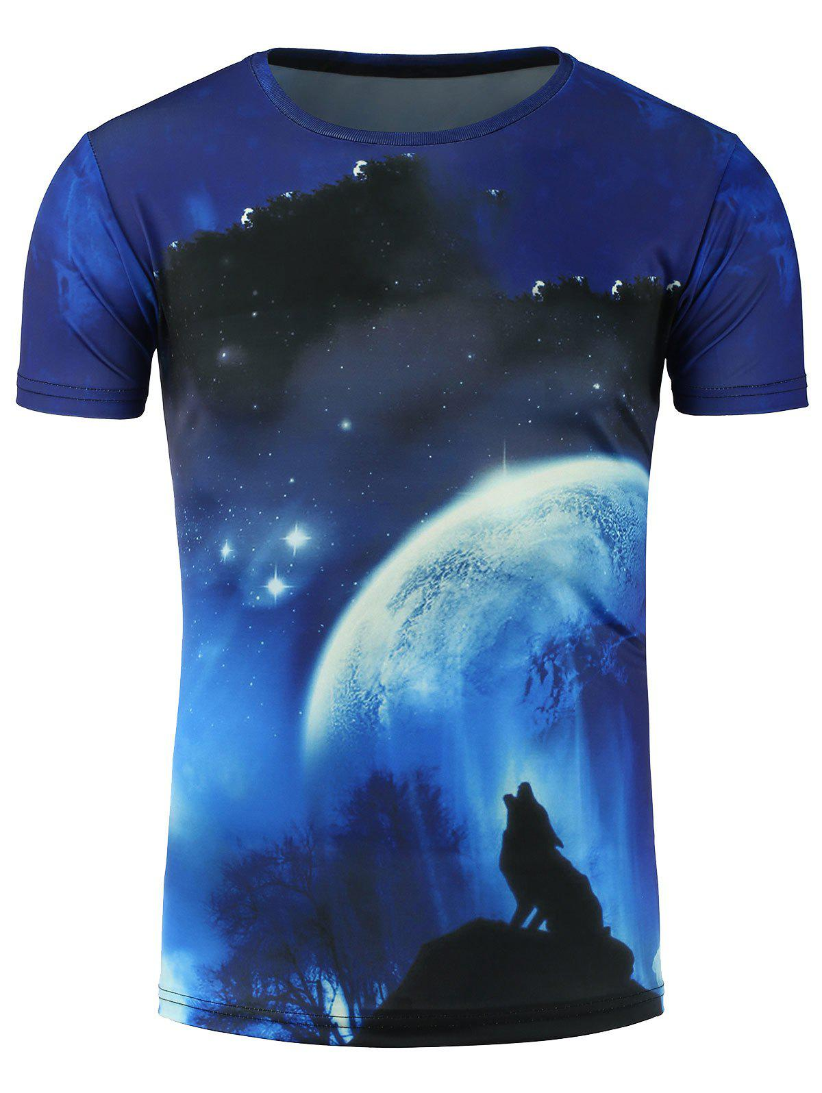 Moon and Wolf 3D Print Galaxy T-Shirt new lone wolf and cub volume 11
