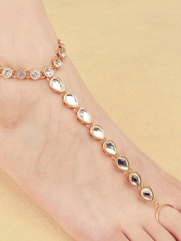 ONE PIECE Rhinestone Teardrop Anklet - GOLDEN