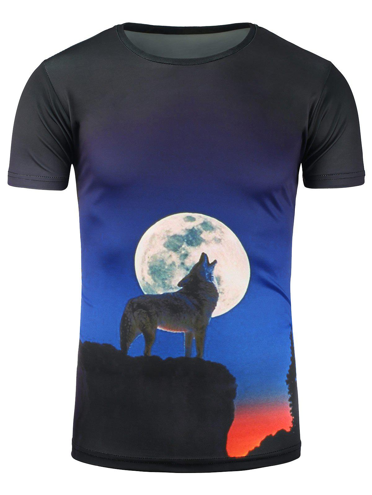 Wolf Howl and Moon 3D Print T-Shirt new lone wolf and cub volume 11