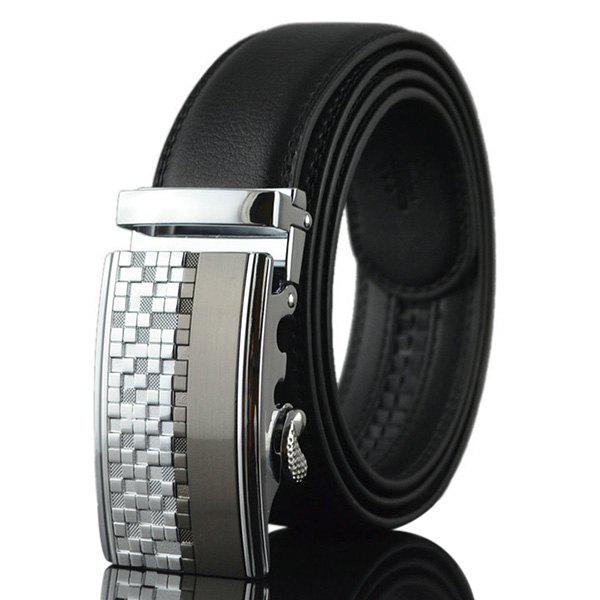 Checked Emboss Buckle Fake Leather Belt - SILVER