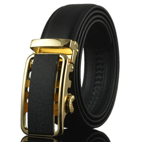 Metal Rectangle Buckle Artificial Leather Belt - GOLDEN