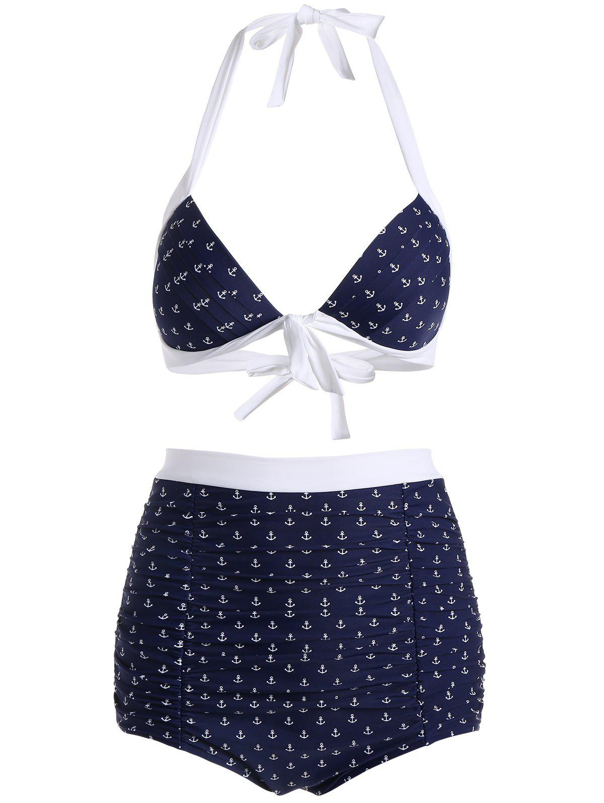 High Waisted Halter Sailor Bikini - CERULEAN L