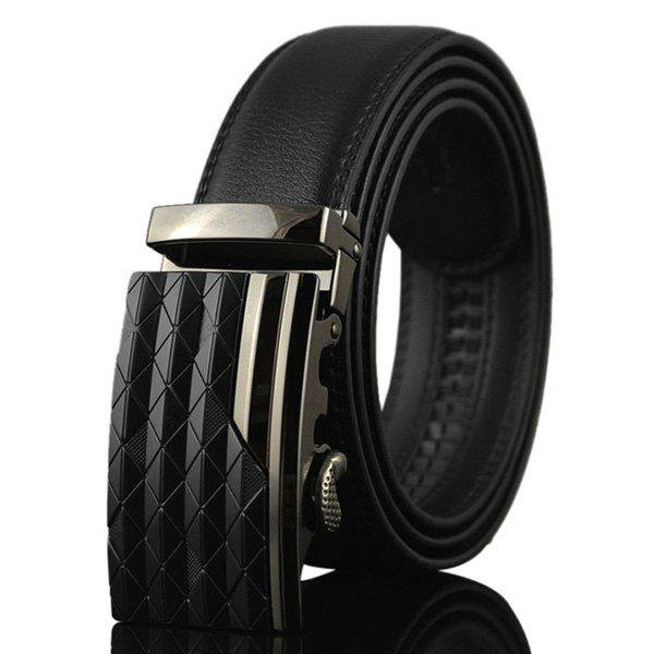 Rhombus Stripe Auto Buckle Belt - BLACK
