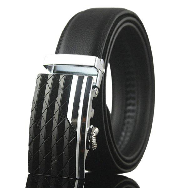 Rhombus Stripe Auto Buckle Belt - SILVER