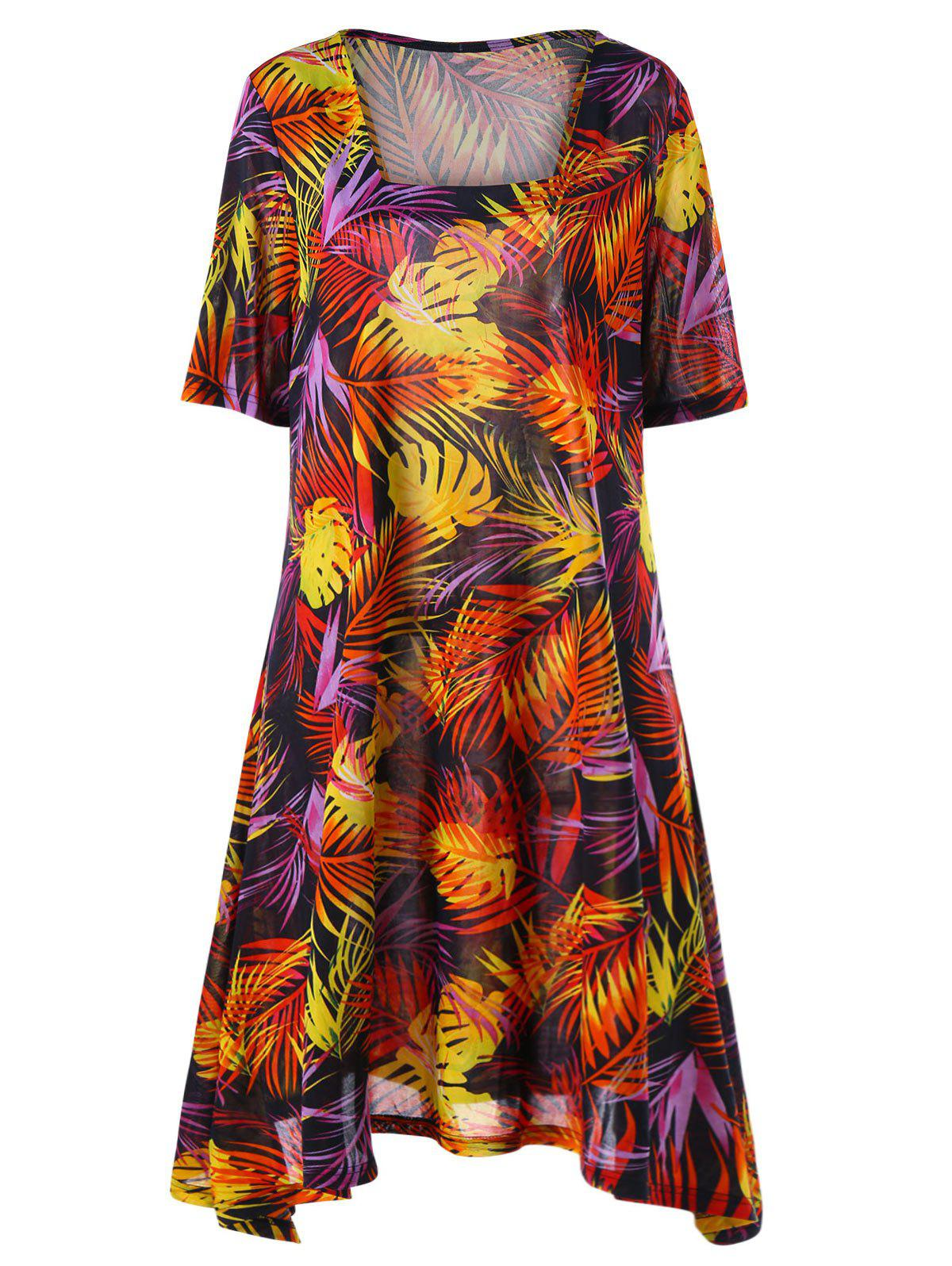 Plus Size Tropical Print Mini Swing Dress - COLORMIX 2XL
