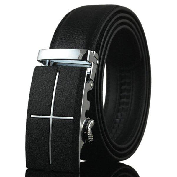 Cross Metal Auto Buckle Fake Leather Belt - BLACK
