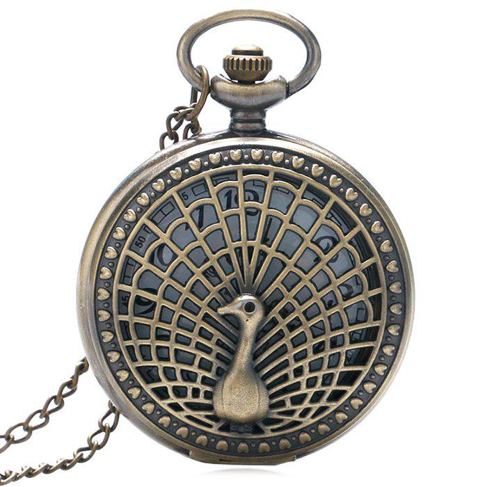 Peacock Carving Vintage Pocket Watch - COPPER COLOR