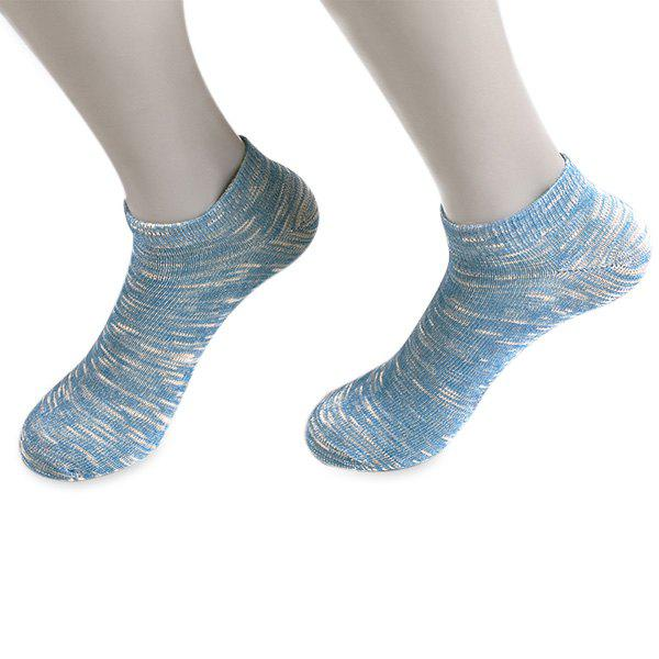 Knitted Elasticated Ankle Socks - BLUE