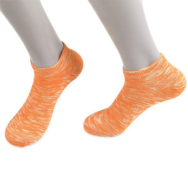 Knitted Elasticated Ankle Socks - ORANGE YELLOW
