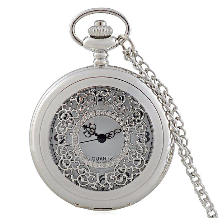 Engraved Vintage Quartz Pocket Watch - SILVER