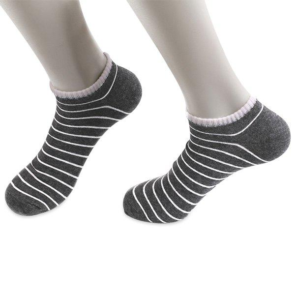 Knitted Pinstripe Elastic Ankle Socks - DEEP GRAY