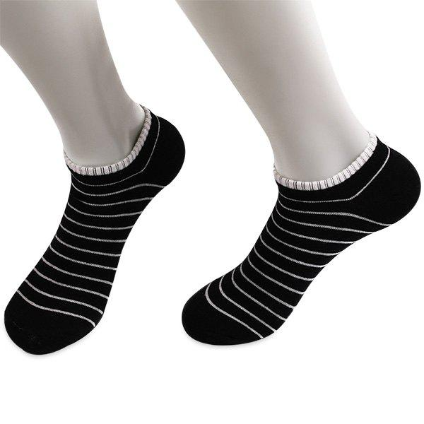 Knitted Pinstripe Elastic Ankle Socks - BLACK