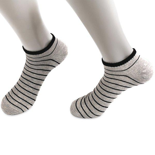Knitted Pinstripe Elastic Ankle Socks - LIGHT GRAY