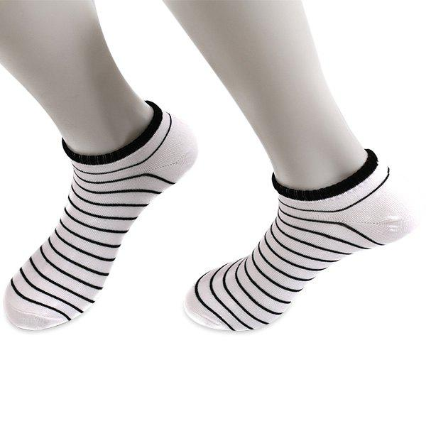Knitted Pinstripe Elastic Ankle Socks - WHITE