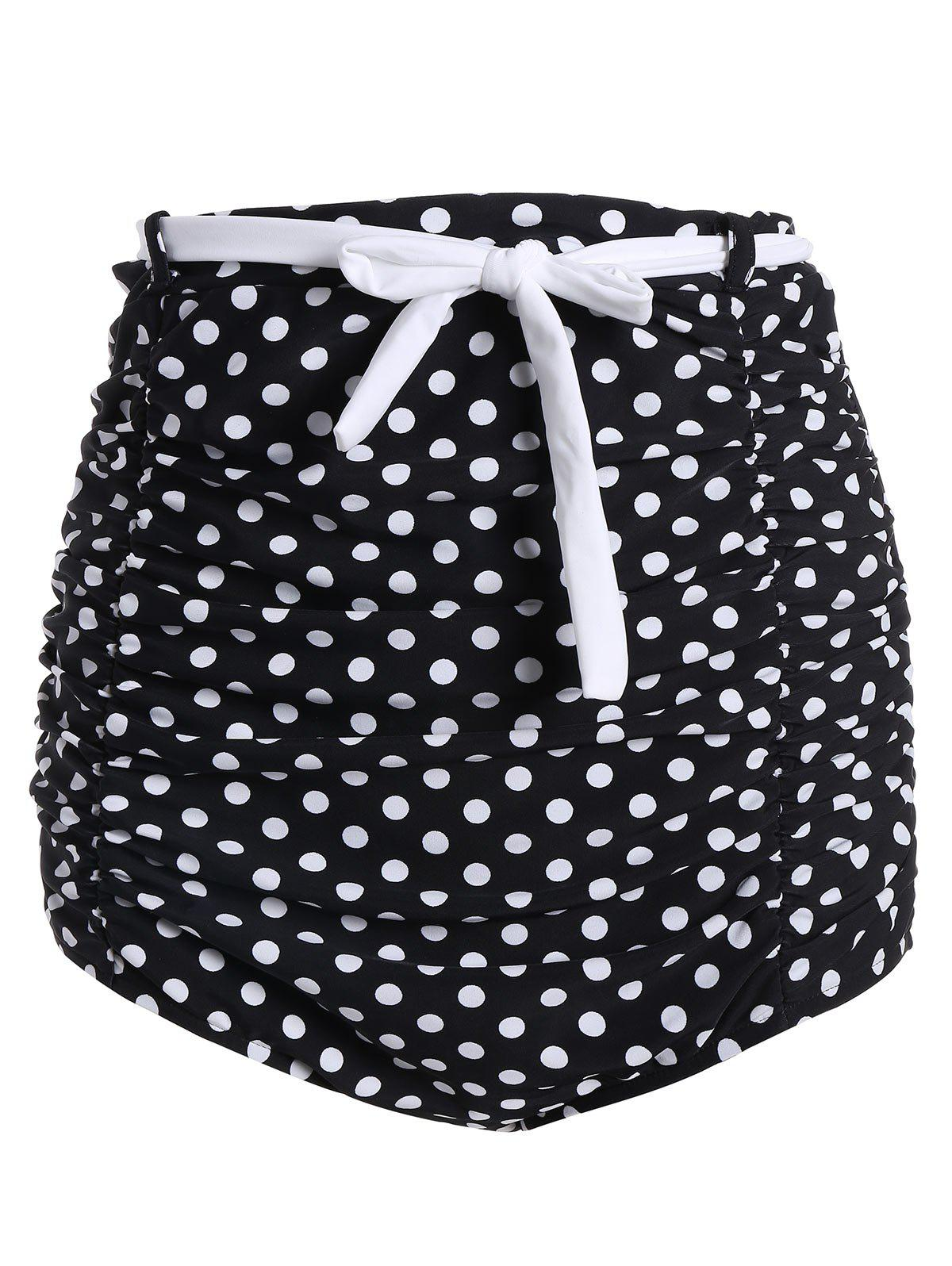 Polka Dot Ruched High Waisted Bikini Bottom Shorts - BLACK L