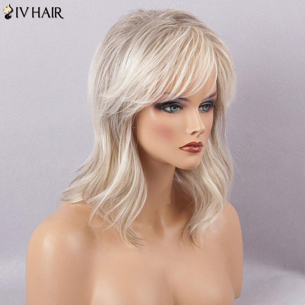 Siv Hair Long Slightly Curly Sided Bang Natural Human Hair Wig - COLORMIX