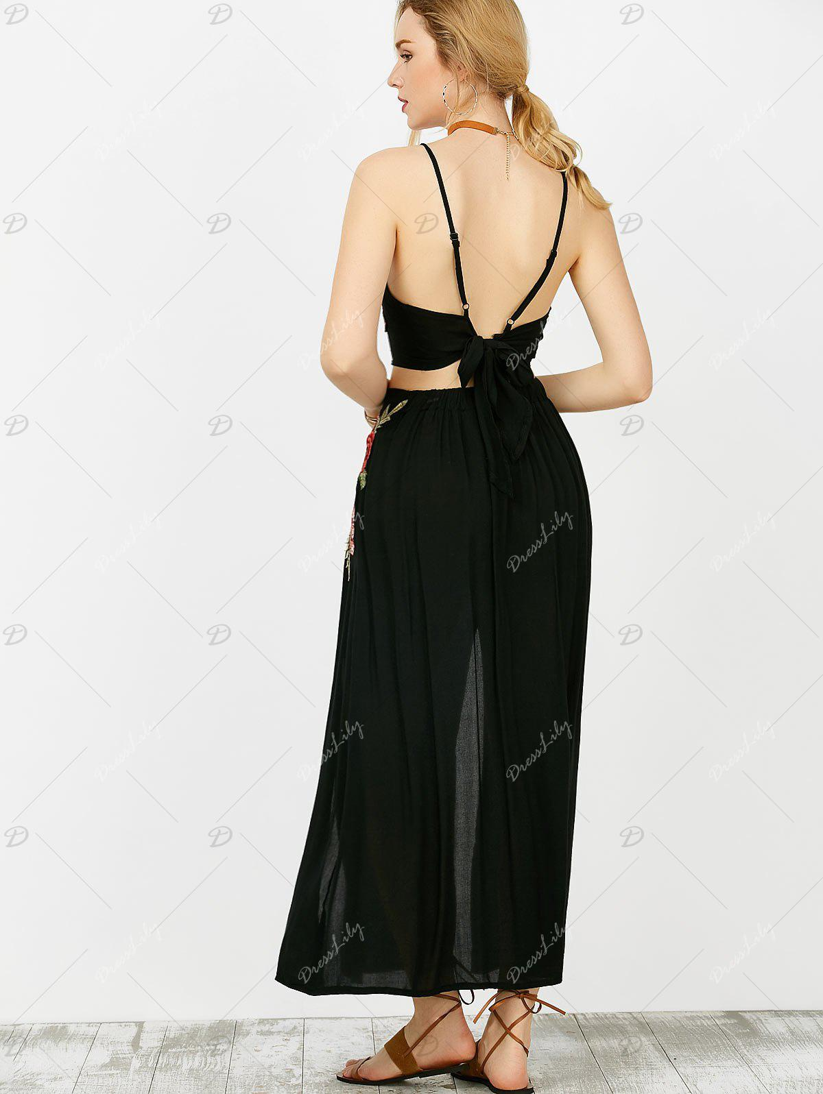 Floral Embroidered Camis and Maxi Slit Skirt - BLACK M