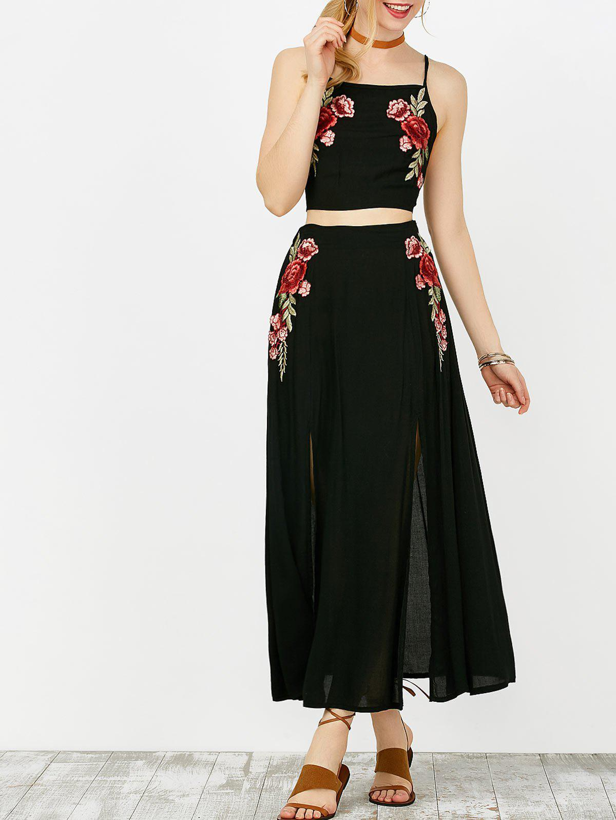 Floral Embroidered Camis and Maxi Slit Skirt - BLACK S
