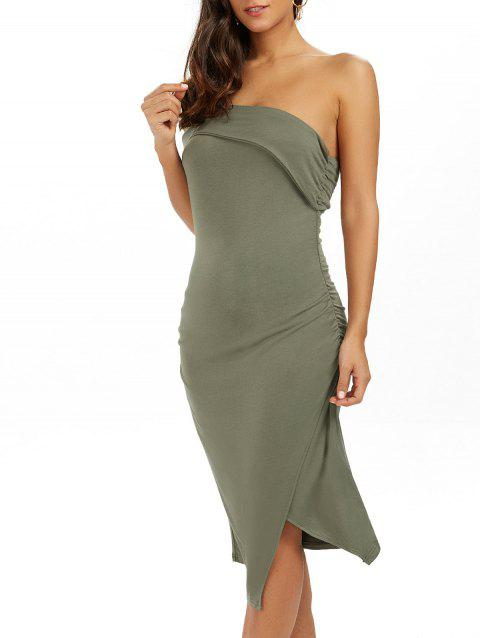 Ruched One Shoulder Low Cut Bodycon Bandage Dress - GREEN M