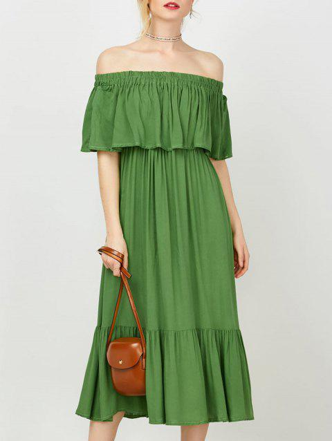 Off The Shoulder Flounce Tea Length Dress - GREEN M