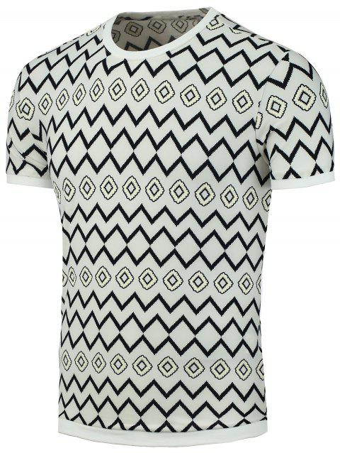 Geo-Print Short Sleeve T-Shirt - WHITE XL
