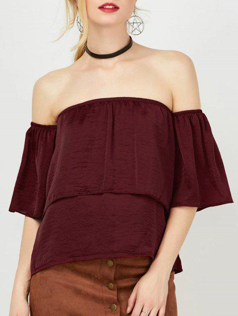 Off The Shoulder Chiffon Blouse - WINE RED M