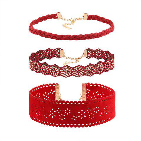 Floral Hollow Out Faux Leather Choker Set - RED