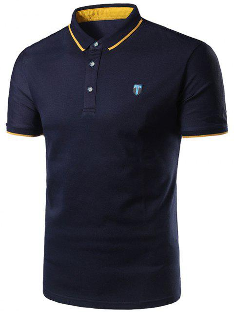 Half Button Logo Golf Shirt - CADETBLUE 3XL