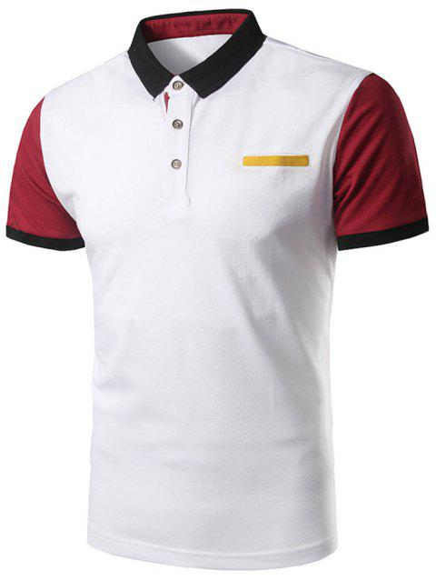 Color Block Faux Pocket Polo Shirt - RED 5XL