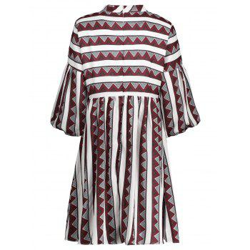 A Line Stripe Plus Size Dress - RED 5XL