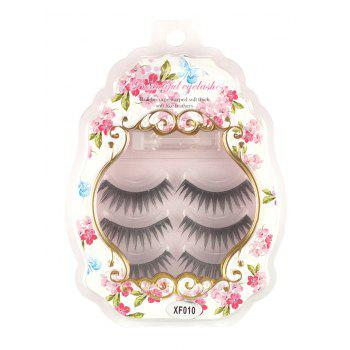 3 Pairs False Eyelashes with Glue - BLACK BLACK