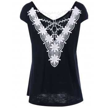 Cap Sleeve Lace Trim Cutwork T-Shirt