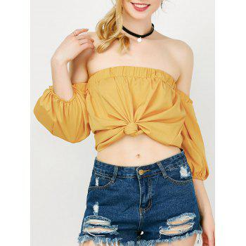 Off The Shoulder Puff Sleeve Crop Blouse