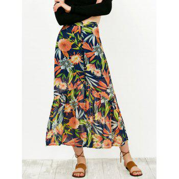 Floral Print Buttoned High Waist Skirt