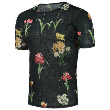Flowers Print Stretchy T-Shirt