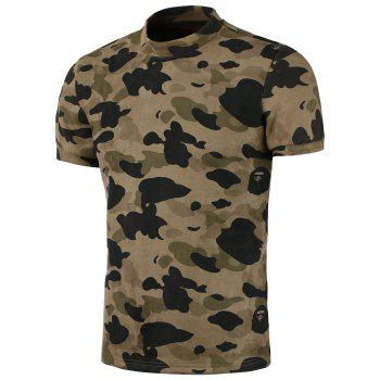 Camo Crew Neck Short Sleeve T-Shirt
