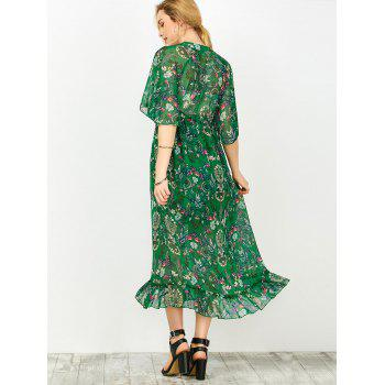 Floral Print Empire Waist Dress With Tube Top - GREEN M