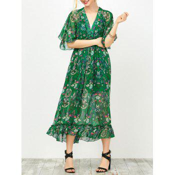 Floral Print Empire Waist Dress With Tube Top