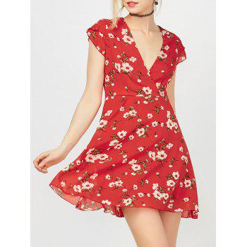 Floral Printed Mini Surplice Dress