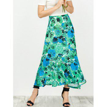 High Waisted Shell Print Boho Skirt
