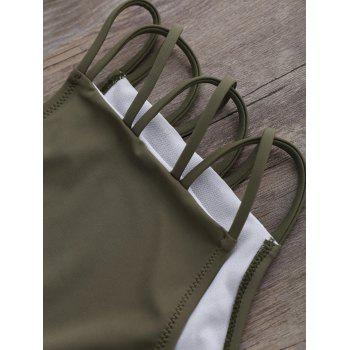 Strappy Halter High Waist Bikini - OLIVE GREEN S