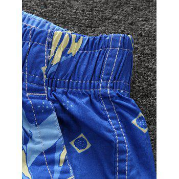 Plant Print Stripes Board Shorts - AZURE 3XL