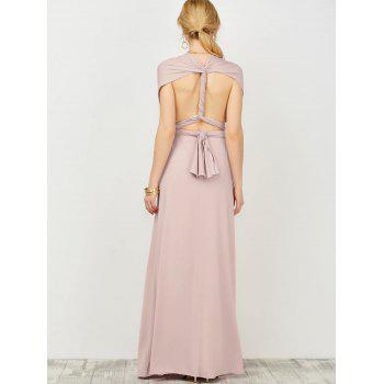 Convertible Open Back Surplice Maxi Prom Wedding Formal Dress - PALE PINKISH GREY ONE SIZE